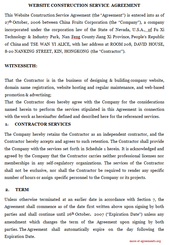 Website Construction Service Agreement
